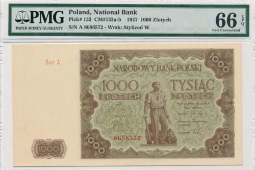 1000 złotych 1947 -A- PMG 66 EPQ