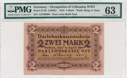 Kowno 2 marki 1918 -A- PMG 63 - najrzadszy nominał