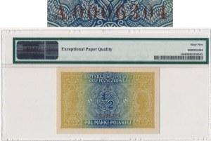 1/2 marki 1916 Jenerał -A- 00006304 - PMG 65 EPQ - rzadszy numerator brązowy