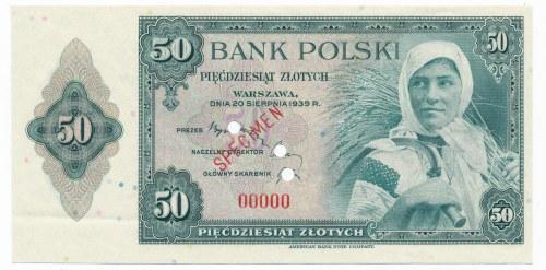 50 złotych 1939 SPECIMEN -00000- rzadka odmiana