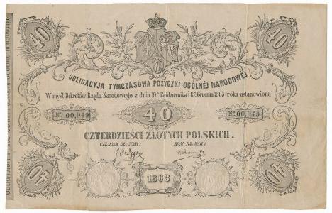 Obligacja Tymczasowa na 40 złotych 1863 - b.rzadkie
