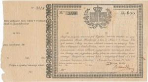 Certyfikat - Posiłki Polskie pożyczka na 600 złotych 1831 z grzbietem