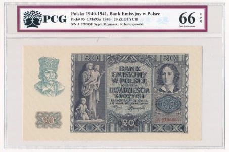 20 złotych 1940 -A- PCG 66 EPQ
