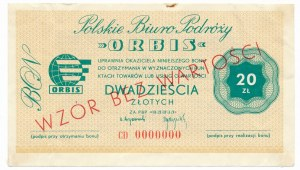 ORBIS Polskie Biuro Podróży 20 złotych WZÓR CD 0000000 - RZADKI