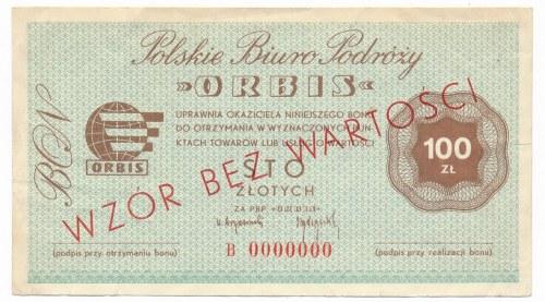 ORBIS Polskie Biuro Podróży 100 złotych WZÓR B 0000000 - RZADKI