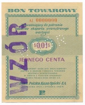 Pewex Bon Towarowy 1 cent 1960 WZÓR -Al 0000000