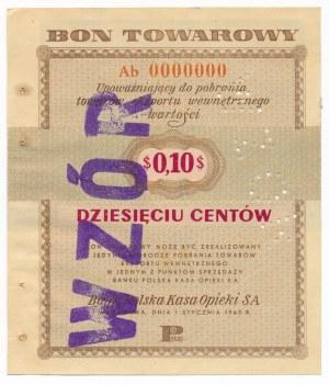 Pewex Bon Towarowy 10 centów 1960 WZÓR Ab 0000000
