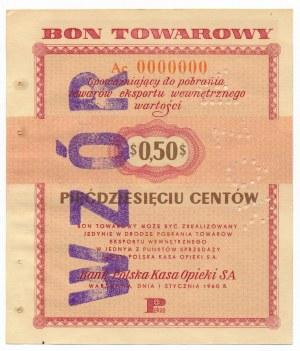 Pewex Bon Towarowy 50 centów 1960 WZÓR Ac 0000000