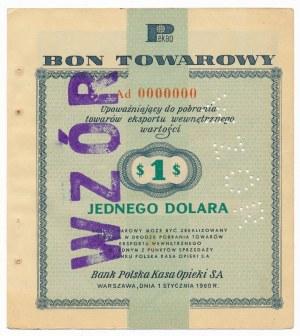 Pewex Bon Towarowy 1 dolar 1960 WZÓR Ad 0000000