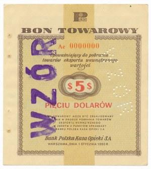 Pewex Bon Towarowy 5 dolarów 1960 WZÓR Ae 0000000