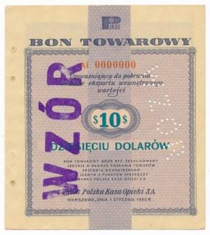 Pewex Bon Towarowy 10 dolarów 1960 WZÓR Af 0000000