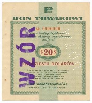 Pewex Bon Towarowy 20 dolarów 1960 WZÓR Ah 0000000