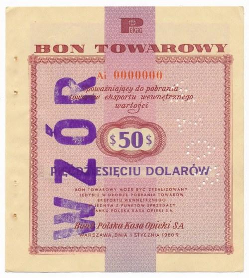 Pewex Bon Towarowy 50 dolarów 1960 WZÓR Ai 0000000 - RZADKOŚĆ