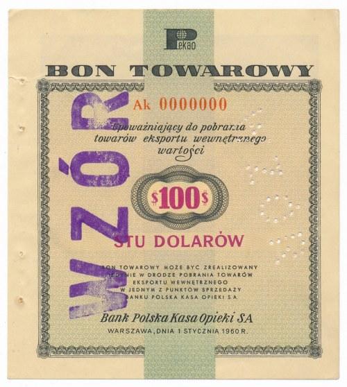 Pewex Bon Towarowy 100 dolarów 1960 WZÓR Ak 0000000 - RZADKOŚĆ