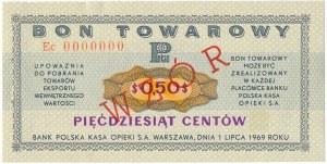 Pewex Bon Towarowy 50 centów 1969 WZÓR - Ec 0000000