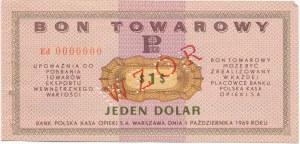 Pewex Bon Towarowy 1 dolar 1969 WZÓR - Ed 0000000