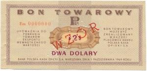 Pewex Bon Towarowy 2 dolary 1969 WZÓR - Em 0000000