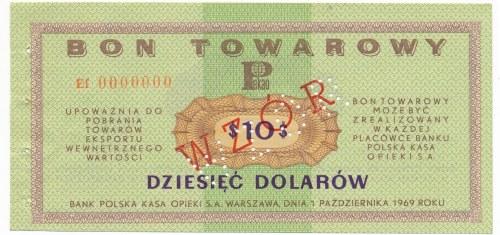 Pewex Bon Towarowy 10 dolarów 1969 WZÓR - Ef 0000000