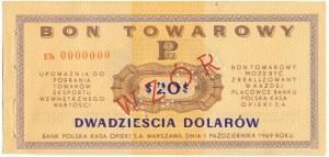 Pewex Bon Towarowy 20 dolarów 1969 WZÓR - Eh 0000000