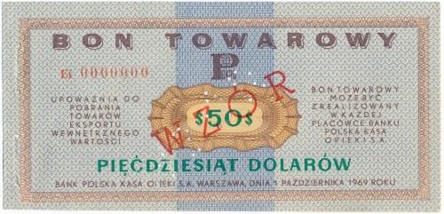 Pewex Bon Towarowy 50 dolarów 1969 WZÓR - Ei 0000000