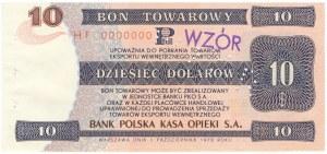 Pewex Bon Towarowy 10 dolarów 1979 WZÓR HF 0000000