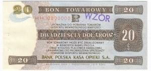 Pewex Bon Towarowy 20 dolarów 1979 WZÓR HH 0000000
