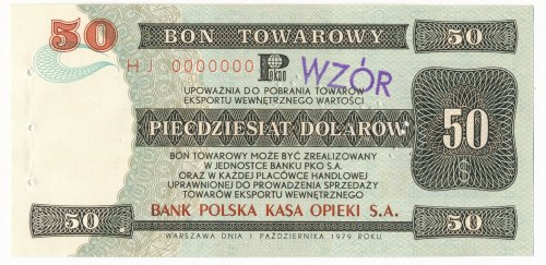 Pewex Bon Towarowy 50 dolarów 1979 WZÓR HJ 0000000