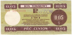 Pewex Bon Towarowy 5 centów 1979 WZÓR HA 0000000
