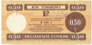 Pewex Bon Towarowy 50 centów 1979 WZÓR HC 0000000