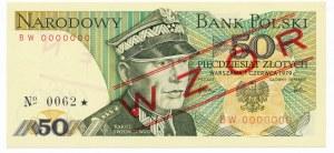 50 złotych 1979 WZÓR BW 0000000 No.0062