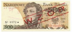 500 złotych 1979 WZÓR AZ 0000000 No.0372