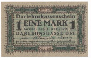 Kowno 1 marka 1918 -A 0082033- niski numer seryjny