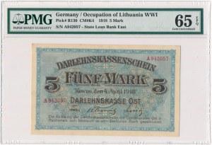 Kowno 5 marek 1918 -A- PMG 65 EPQ - pierwsza seria