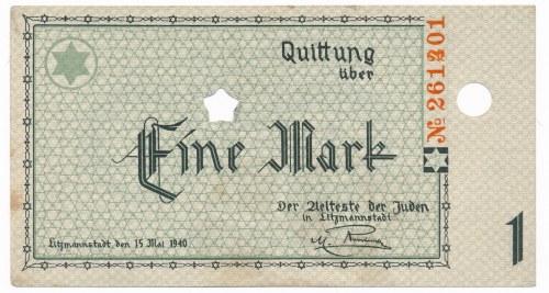 Getto 1 marka 1940 - num. 6-cyfrowy bez serii, z błędem numeratora