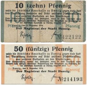 Gdańsk 10 i 50 pfennig 1916 - zestaw