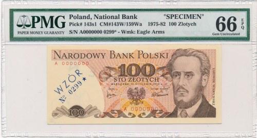 100 złotych 1975 WZÓR -A 0000000 - No.0299 - PMG 66 EPQ - RZADKOŚĆ