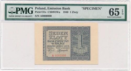 1 złoty 1940 WZÓR A 0000000 - PMG 65 EPQ - RZADKI
