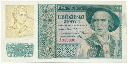 50 złotych 1939 -A 000000- PRÓBA DRUKU z innym znakiem wodnym - UNIKAT