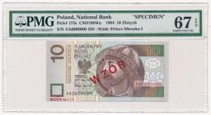 10 złotych 1994 A 0000000 - WZÓR Nr.1880 - PMG 67 EPQ