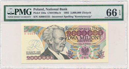 2 miliony złotych 1992 -A- Konstytucyjy- PMG 66 EPQ - NUMERATOR CZTEROCYFROWY