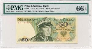 50 złotych 1975 -BG- PMG 66 EPQ - rzadsza seria