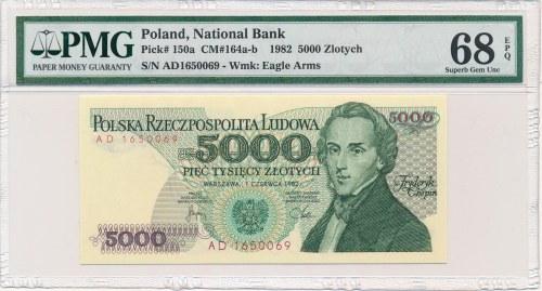 5.000 złotych 1982 -AD- PMG 68 EPQ - rzadka seria
