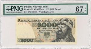 2.000 złotych 1979 -BN- PMG 67 EPQ - rzadsza, ostatnia seria