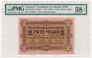 Kowno 2 marki 1918 -A- PMG 58 EPQ - najrzadszy nominał
