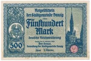 Gdańsk 500 marek 1922 - piękny