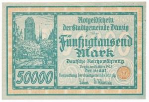 Gdańsk 50.000 marek 1923 num. 5 cyfr