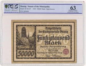 Gdańsk 50.000 marek 1923 - PCGS 63