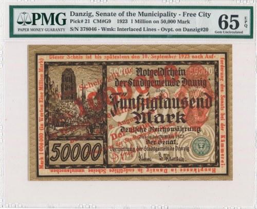 Gdańsk 1 milion 1923 - czerwony nadruk - PMG 65 EPQ - RZADKOŚĆ w tym stanie