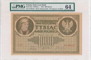 1.000 marek 1919 -X- PMG 64 - rzadka i ciekawa seria