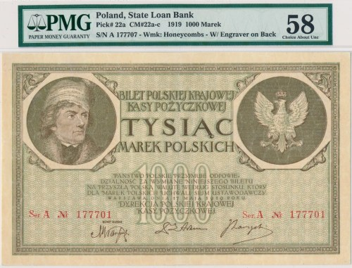 1.000 marek 1919 -2 x Ser.A -PMG 58 - bardzo rzadka odmiana